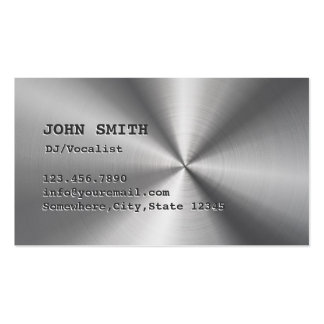 DJ Music Cool Faux Stainless Steel Metal Business Card