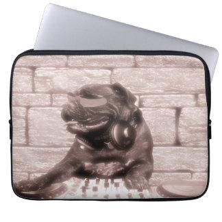 DJ music dog bulldog tech photo Laptop Sleeve