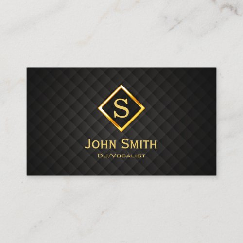 DJ Music Gold Diamond Monogram Deejay Business Card
