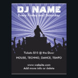 """DJ Name 2 Music Flyer<br><div class=""""desc"""">Create your own music event or DJ gig flyer by editing the text on both sides of this raving fan and DJ silhouetted music scene! Blue star burst background! Change the font style, font colors and sizes with the editor! Add or delete text, add directions or any information you want!...</div>"""