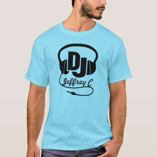 DJ name headphone black graphic t-shirt