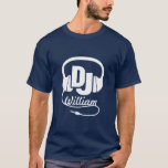 DJ name headphone white on dark graphic t-shirt at Zazzle
