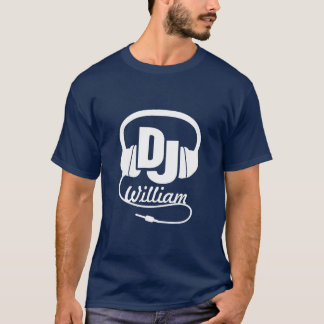 DJ name headphone white on dark graphic t-shirt