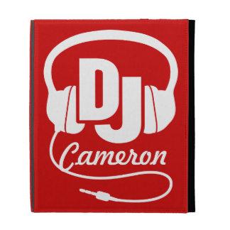 DJ name headphones white red ipad folio case