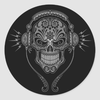 DJ negro azucara el cráneo Pegatina Redonda
