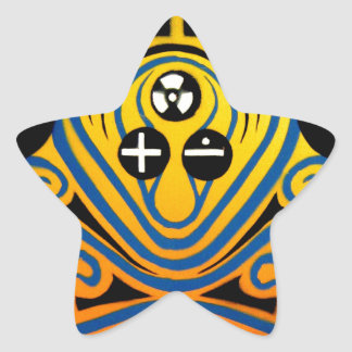 DJ Octopus in blue Star Sticker