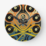 DJ Octopus in yellow Wall Clocks
