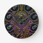 DJ Octopus neon v1 Wall Clock