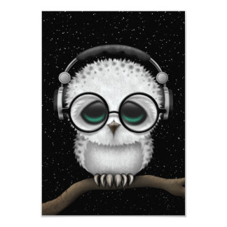 Dj Owl with Headphones, Glasses and Stars 3.5x5 Paper Invitation Card