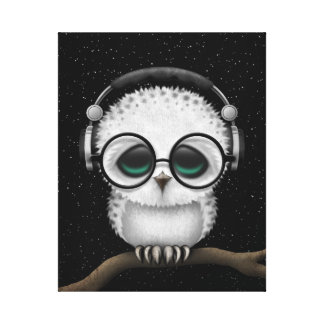 Dj Owl with Headphones, Glasses and Stars Canvas Print