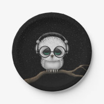 Dj Owl with Headphones, Glasses and Stars Paper Plate