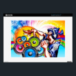 "DJ Party Skins For Laptops<br><div class=""desc"">This is a great design for those DJ&#39;s out there with their entire music collection on their laptops. A stylized DJ is rapping with a colorful backdrop. Other variants available</div>"