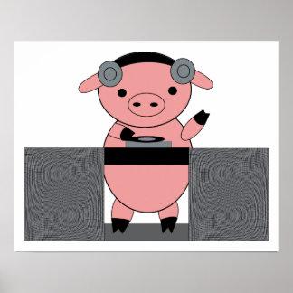 DJ Piggy Pig Poster