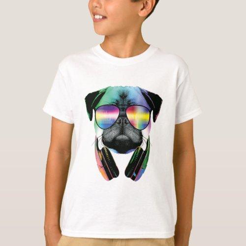 Dj Pug Cool Dog T-Shirt
