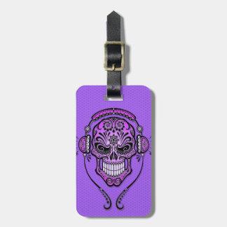 DJ púrpura azucara el cráneo Etiquetas De Maletas