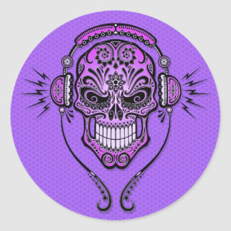 DJ púrpura azucara el cráneo Pegatina Redonda