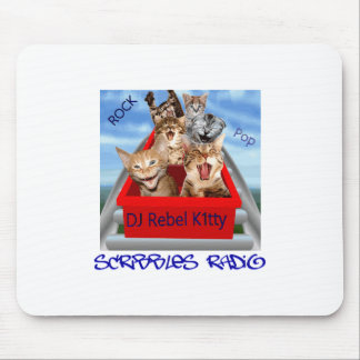 Dj Rebel Kitty Scribbles Radio Mouse Mat Mouse Pads