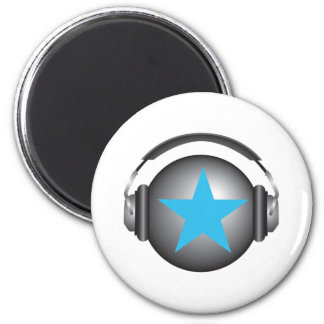 dj ricorox earth with headphones refrigerator magnet