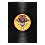 DJ rojo azucara el cráneo en gráfico del disco de  Tarjetas