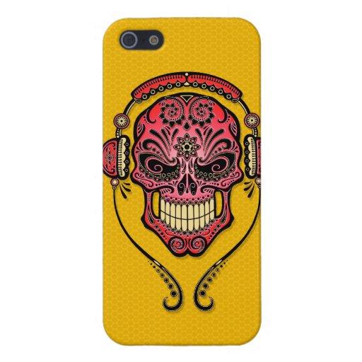 DJ rojo y amarillo azucara el cráneo iPhone 5 Carcasas