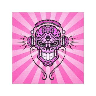 DJ rosado azucara el cráneo con los rayos de la Impresión En Tela