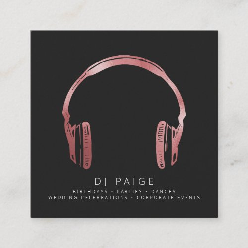DJ Rose Gold Headphones Logo Black Square Business Card