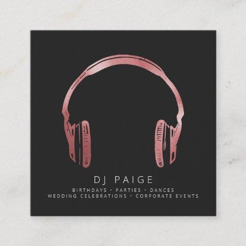 DJ Rose Gold Headphones Logo Black Square Business Card