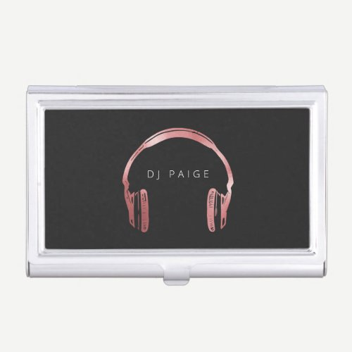 DJ Rose Gold Headphones Logo Personalized Business Card Case