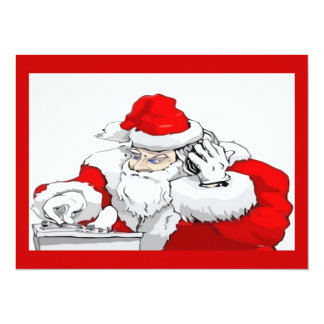 DJ Santa Claus Mixing The Christmas Party Track 5.5x7.5 Paper Invitation Card