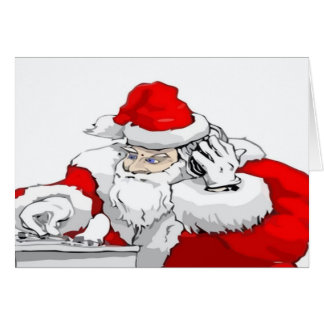 DJ Santa Claus Mixing The Christmas Party Track Greeting Cards