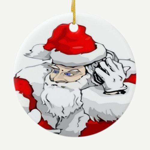 DJ Santa Claus Mixing The Christmas Party Track Ceramic Ornament