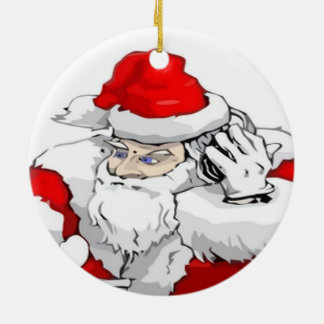 DJ Santa Claus Mixing The Christmas Party Track Double-Sided Ceramic Round Christmas Ornament