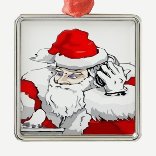 DJ Santa Claus Mixing The Christmas Party Track Metal Ornament