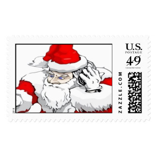 DJ Santa Claus Mixing The Christmas Party Track Postage