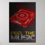 DJ siente el poster de la música - pintada pionera