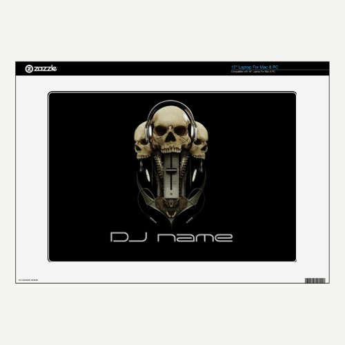 dj skull headphones Skin For Laptop