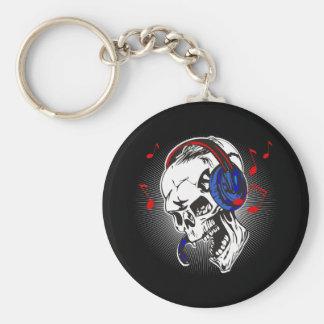 DJ Skull Basic Round Button Keychain