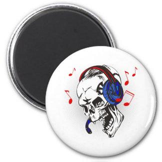 DJ Skull 2 Inch Round Magnet