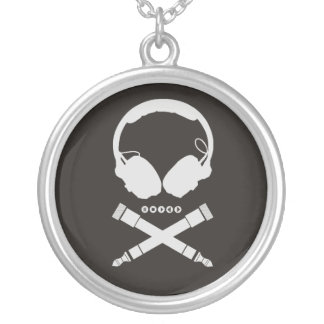 DJ Skull Round Pendant Necklace