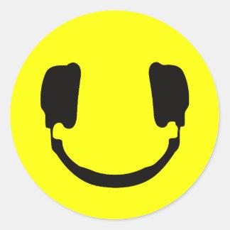 DJ smiley Classic Round Sticker