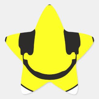 DJ smiley Star Sticker