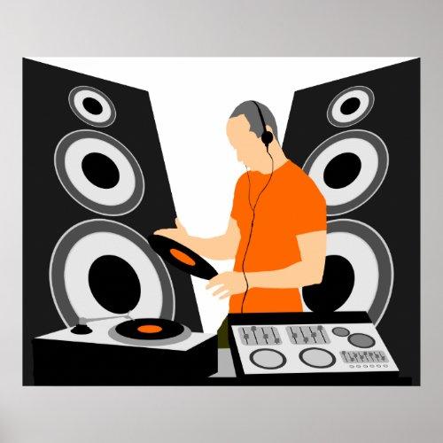 DJ Spinning Vinyl At Decks Poster