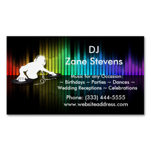 Dj business cards 1400 dj business card templates dj spinning vinyl business card magnet accmission Choice Image
