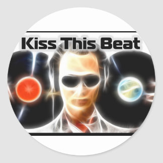 "DJ Stuff ""Kiss This Beat"" Classic Round Sticker"