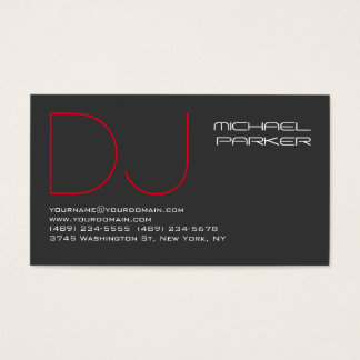 DJ Stylish Grey Background Red Professional Business Card