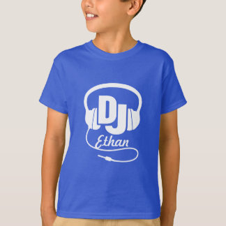 DJ su blanco del nombre en azul embroma la Playera