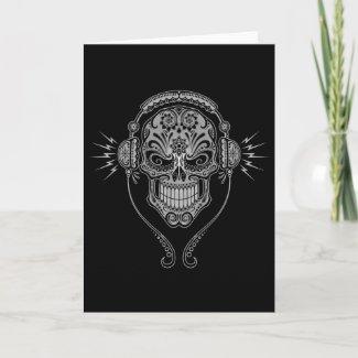 DJ Sugar Skull – Black zazzle_card
