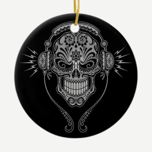 DJ Sugar Skull – Black Ceramic Ornament