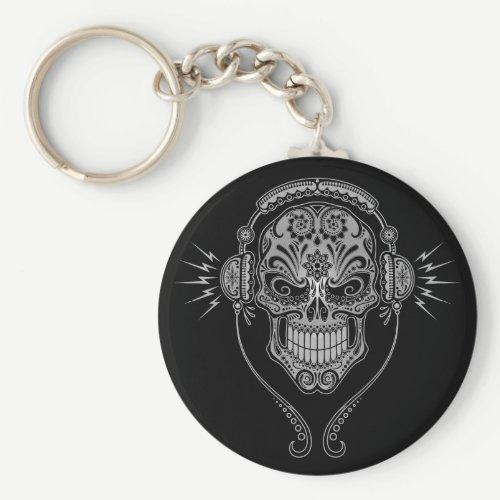 DJ Sugar Skull – Black Keychain