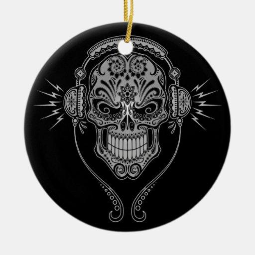 DJ Sugar Skull – Black Double-Sided Ceramic Round Christmas Ornament